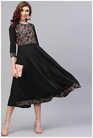 AASI- HOUSE OF NAYO Women Rayon Printed A line Kurti dress - Black