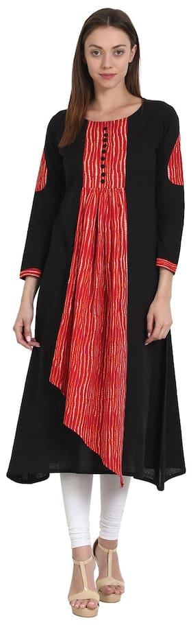 f9005be8f AASI- HOUSE OF NAYO Women Cotton Printed A Line Kurta - Black