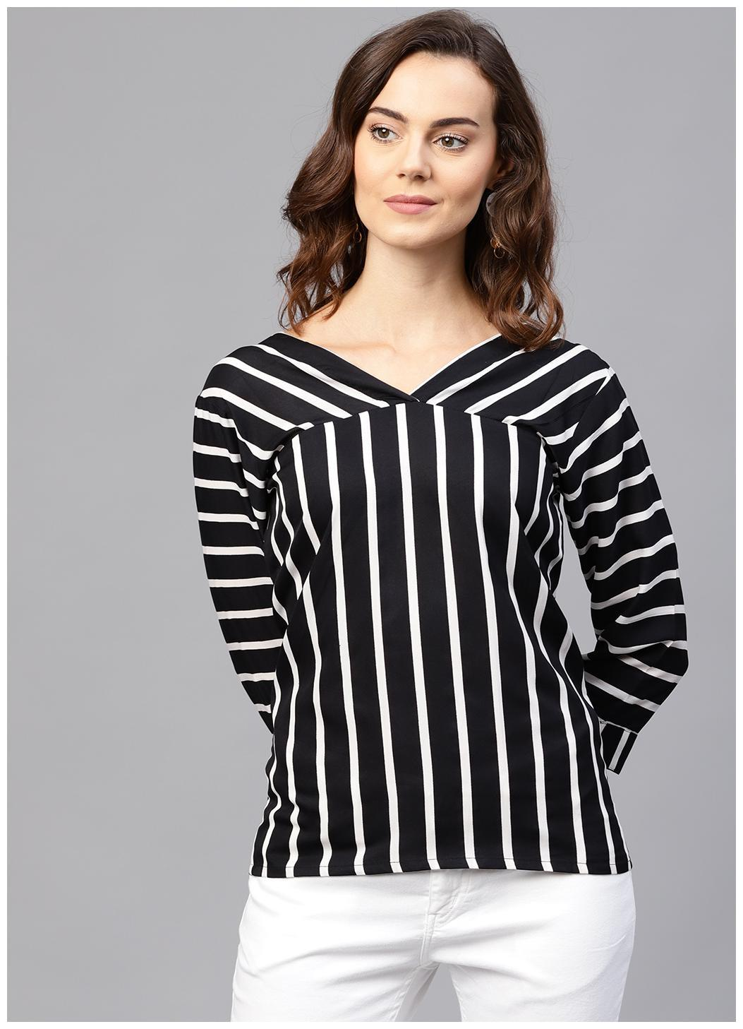 Aasi Black striped 3/4th sleeve shirt style top