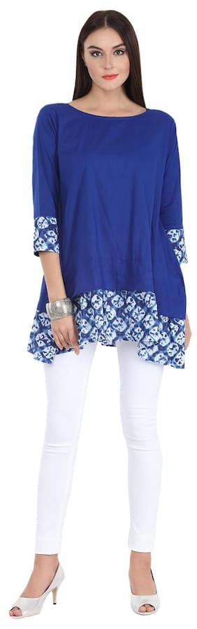 AASI- HOUSE OF NAYO Women Cotton Solid - Regular Tunic Blue