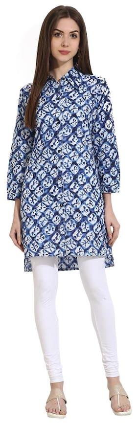 AASI- HOUSE OF NAYO Women Cotton Printed - Regular Tunic Blue