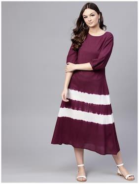 AASI- HOUSE OF NAYO Women Cotton Dyed Anarkali Kurti Dress - Purple