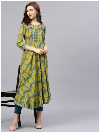 AASI- HOUSE OF NAYO Green Printed 3/4 Sleeves Kurta With Front Yoke And Round Neck