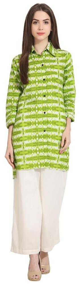 AASI- HOUSE OF NAYO Women Cotton Printed - Regular Tunic Green