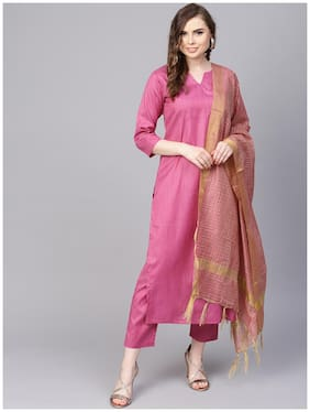 AASI- HOUSE OF NAYO Women Pink Solid Straight Kurta With Pants And Dupatta