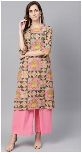AASI- HOUSE OF NAYO Cotton Printed Straight Kurta With Pants - Multi