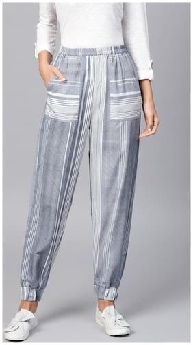 Women Striped Regular Trousers