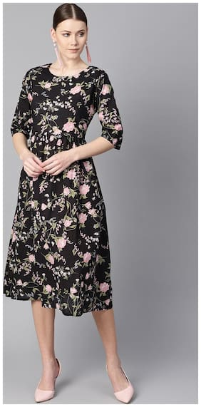 Women Floral Fit and Flare Kurti Dress ,Pack Of 1