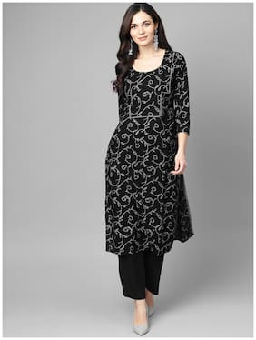 AASI- HOUSE OF NAYO Women Black Floral Straight Kurta With Palazzo