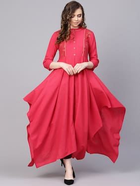AASI- HOUSE OF NAYO Women Cotton Solid A Line Kurta - Pink