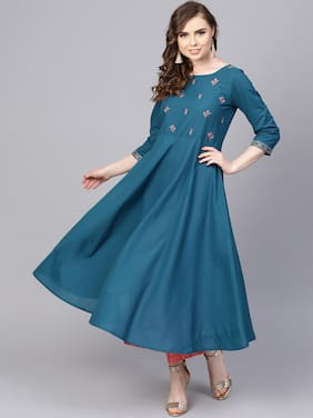 AASI- HOUSE OF NAYO Women Cotton Embroidered A line Kurta - Blue