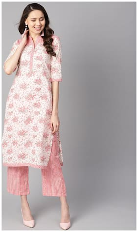 AASI- HOUSE OF NAYO Cotton Printed Straight Kurta With Pants - Off White and peach