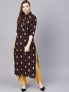 e25ae2dd5af AASI- HOUSE OF NAYO Women Cotton Printed Straight Kurta - Black