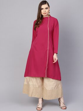 AASI- HOUSE OF NAYO Women Polyester Solid Straight Kurta - Pink