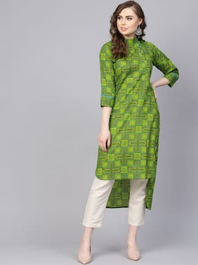 2caf9381825 AASI- HOUSE OF NAYO Women Cotton Printed Straight Kurta - Green