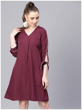 AASI- HOUSE OF NAYO Polyester Solid A-line Dress Maroon