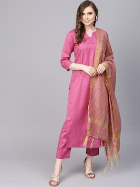 AASI- HOUSE OF NAYO Solid Pink Kurta set with ankle length Pant & Dupatta