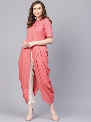 AASI- HOUSE OF NAYO Women Rayon Solid A Line Kurta - Pink