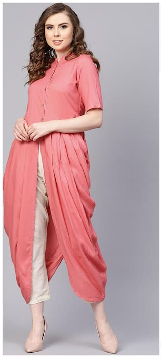 AASI- HOUSE OF NAYO Women Pink Solid A-Line Kurta