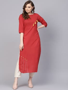 AASI- HOUSE OF NAYO Women Cotton Solid Straight Kurta - Red