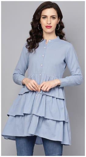 Women Solid Mandarin Collar Top ,Pack Of 1