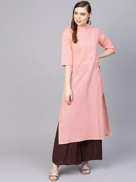AASI- HOUSE OF NAYO Women Cotton Solid Straight Kurta - Peach