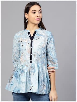 AASI- HOUSE OF NAYO Women Cotton Printed - Fusion tunic Blue