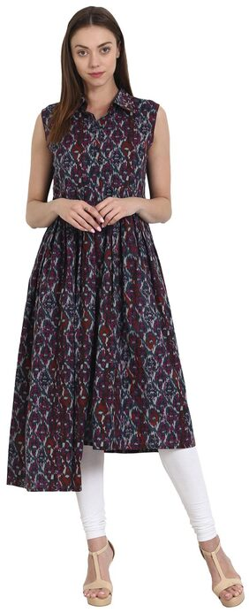 AASI Women Cotton Printed Anarkali Kurta - Multi