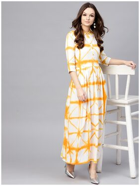 AASI- HOUSE OF NAYO Multi Tie And Dyed Shirt Collar Kurti Dress With Box Pleats And 3/4 Sleeves