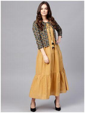 AASI Women Cotton Solid Anarkali Kurti Dress - Yellow
