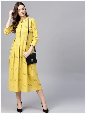 AASI- HOUSE OF NAYO Mustard Full Sleeves Cotton Kurti Dress With Madarin Collar And Front Placket