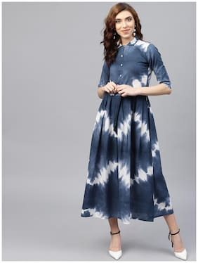 AASI- HOUSE OF NAYO Navy Blue 3/4Th Sleeve Tie Dye Printed Cotton A-Line Kurti Dress With Belt