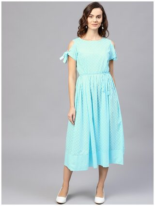 AASI- HOUSE OF NAYO Printed Round Neck With A Draw-String At Yoke And Knotted Short Sleeves Kurti Dress
