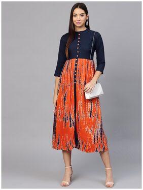 AASI- HOUSE OF NAYO Printed Tye-Dye Chinese Collared 3/4Th Sleeves Kurti Dress