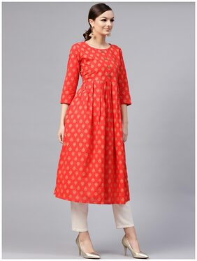 AASI Women Cotton Printed A Line Kurta - Red