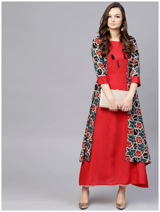 AASI- HOUSE OF NAYO Women Cotton Printed A line Kurta - Red