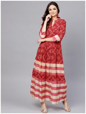AASI Women Crepe Printed Anarkali Kurti Dress - Red