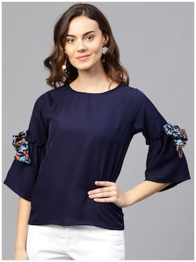 AASI- HOUSE OF NAYO Women Crepe Solid - Regular Top Blue