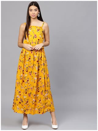 AASI- HOUSE OF NAYO Yellow Printed Maxi dress