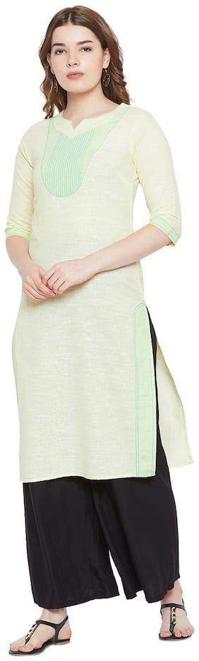 AASK Women Cotton Solid Straight Kurti - Green & Beige