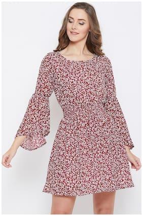 AASK Maroon Floral A-line dress