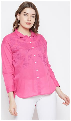 AASK Women Loose fit Embroidered Shirt - Pink