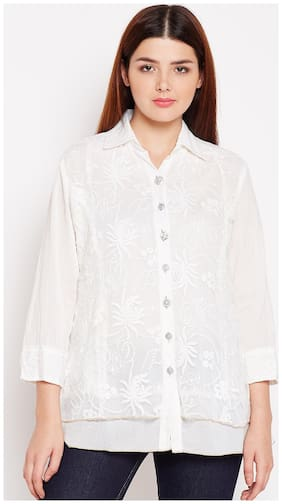 AASK Women Loose fit Embroidered Shirt - White