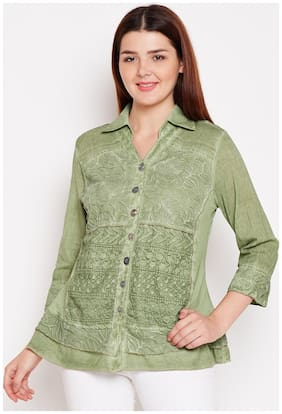 AASK Women Loose fit Embroidered Shirt - Green