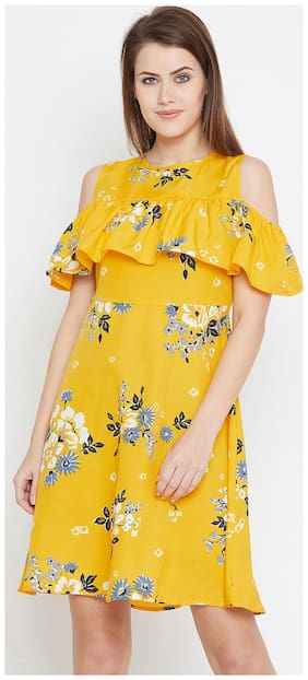 AASK Yellow Floral Fit & flare dress