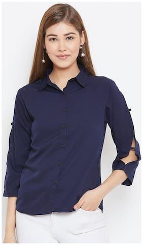 AASK Women Blue Solid Regular Fit Shirt