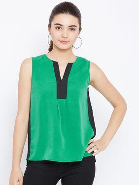 AASK Women Crepe Solid - Regular Top Green