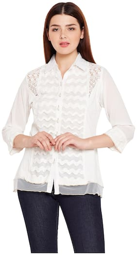 AASK Women Regular Fit Embroidered Shirt - White