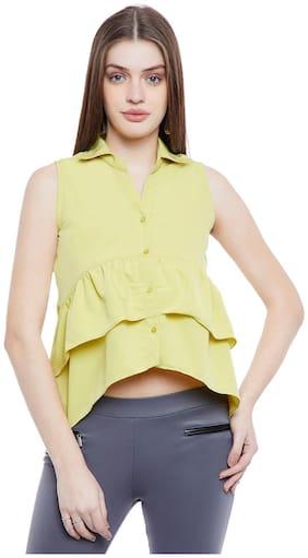 AASK Women Regular Fit Solid Shirt - Yellow