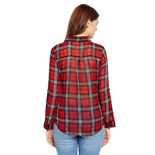 Georgette Printed and Multi Shirt Women's Stripe Aask Color Red AqUYn0